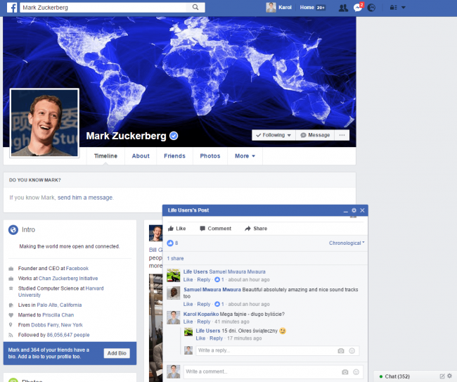 Zrzut ekranu pokazujący nowy typ powiadomień na Facebooku.