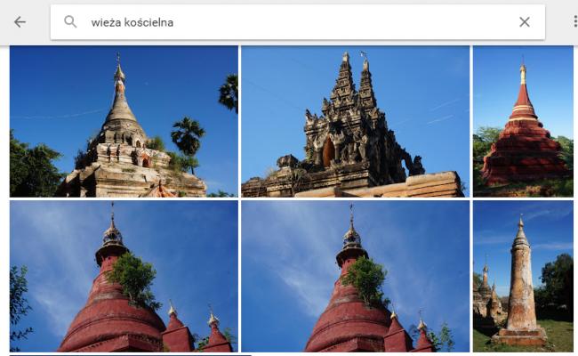 Zrzut ekranu z Google Photos. Na zdjęciach birmańskie pagody, które z wyglądu przypominają wieże.