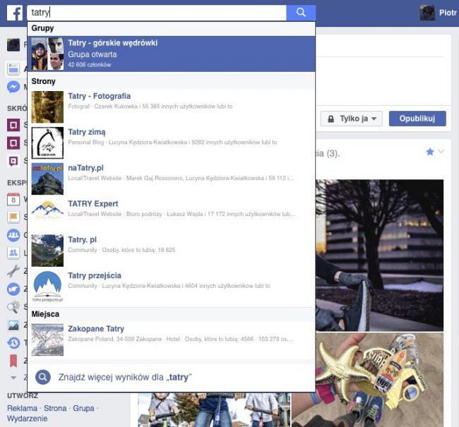 Stary sposób wyświetlania wyników wyszukiwania przez Facebooka.