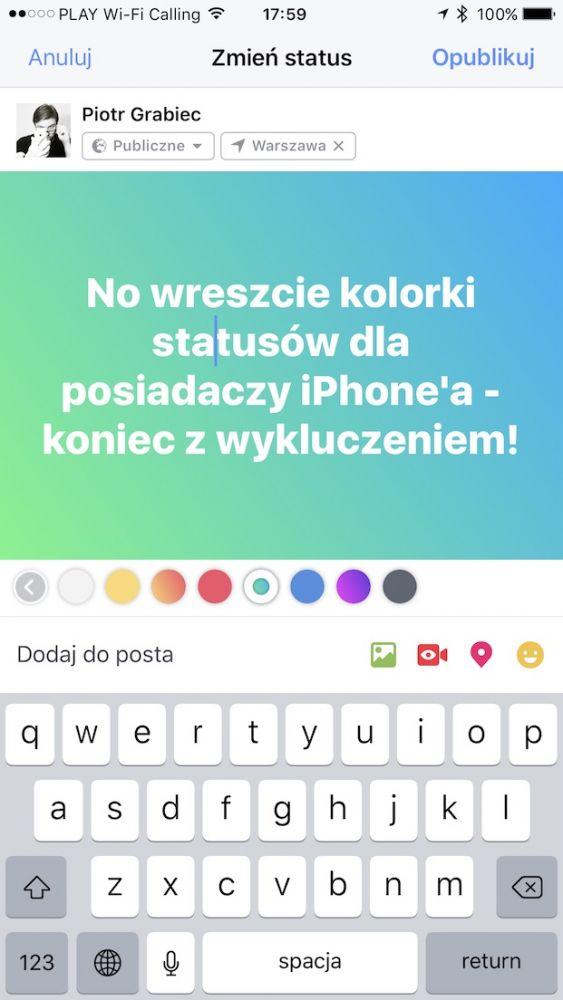 kolorowe statusy facebook iphone