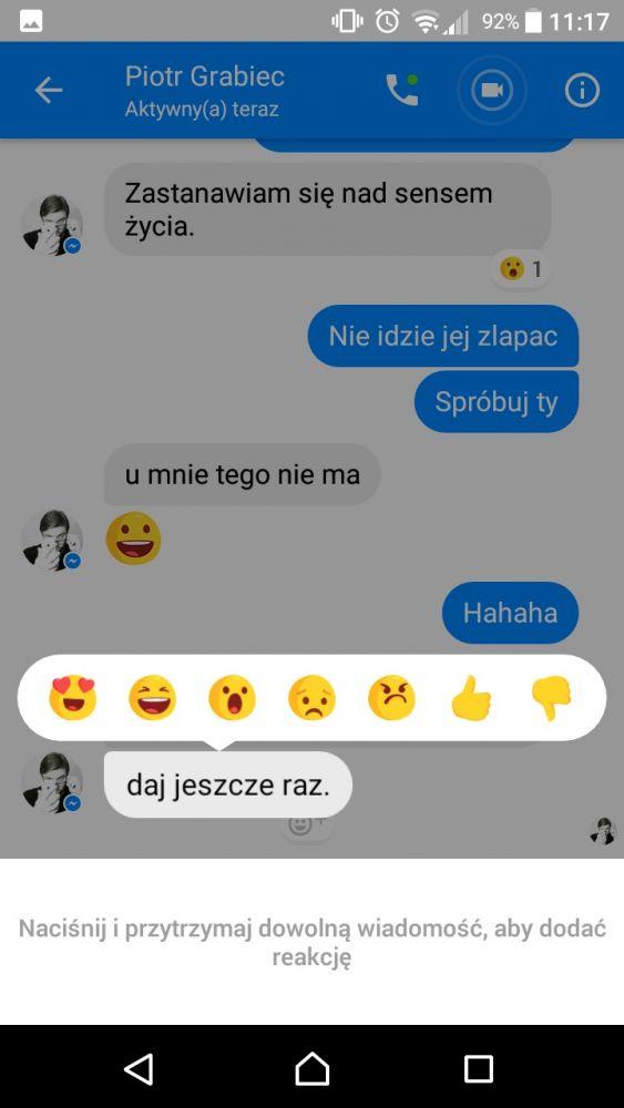 Do wyboru mamy siedem reakcji na Messengerze