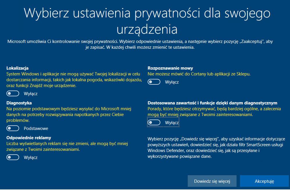 ochrona prywatności w Windows 10