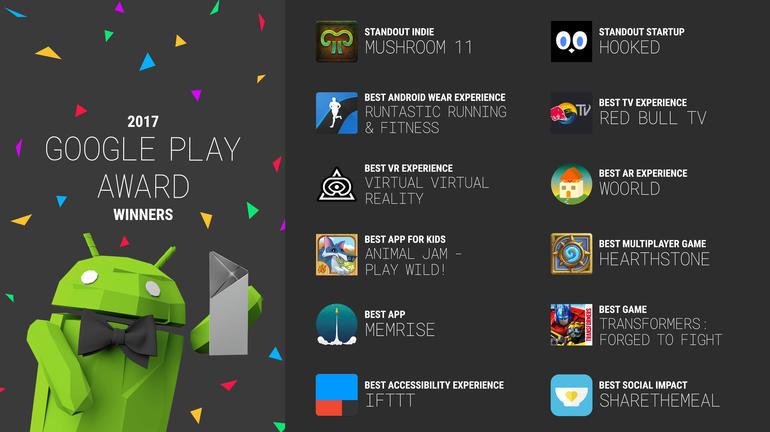 najlepsze gry i aplikacje Google Play 2017