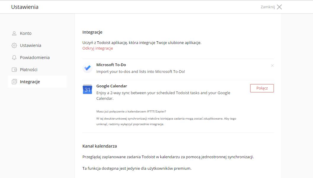 Todoist i Google Calendar łączą się  Takiego połączenia