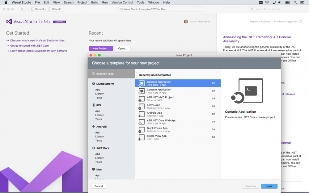 visual studio mac