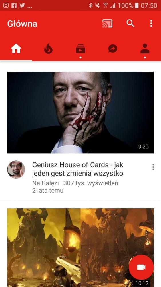 nowa wersja aplikacji YouTube na Androida