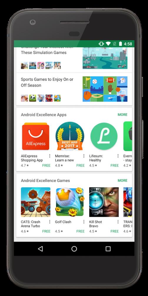 Sekcja Android Excellence z najlepszymi aplikacjami mobilnymi.