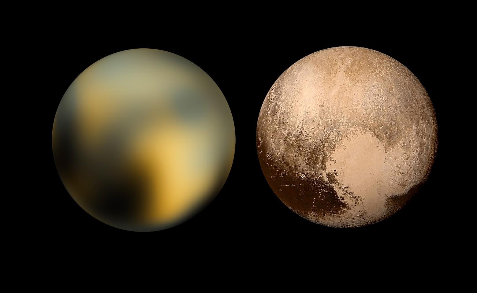 Pluton oczami Teleskopu Hubble'a i sondy New Horizons