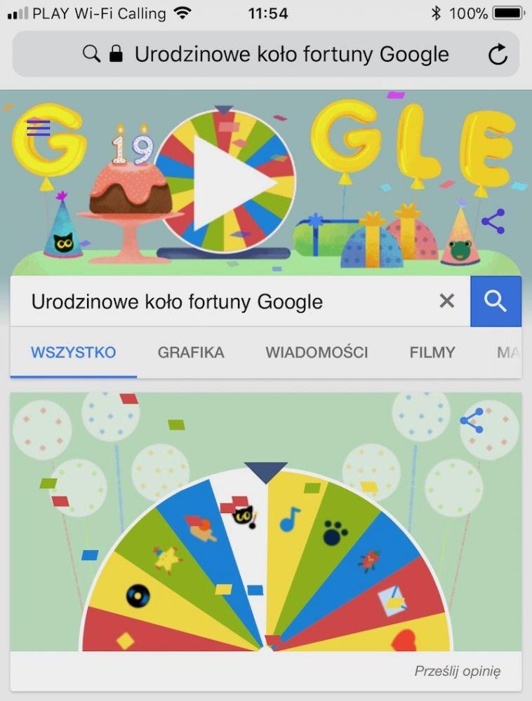google doodle 2017 19 lat koło fortuny