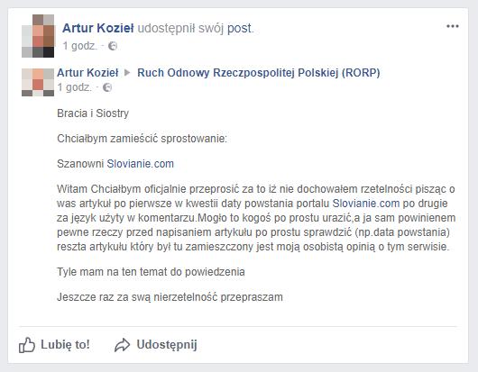 Artur Kozieł przeprosił Slovianie.com