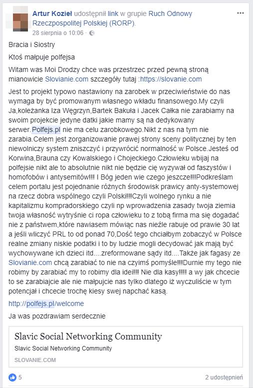 Artur Kozieł wypierał się tego w rozmowie z Krzysztofem Klamką i uważał, że nigdy nie obraził twórców witryny Slovanie. Po pokazaniu mu dowodów, w postaci widocznego poniżej zrzutu ekranu, Kozieł zdecydował, że skasuje tę wypowiedź.
