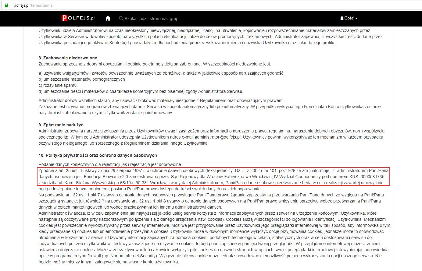 W regulaminie serwisu Polfejs.pl znajdowały się informacje o Fundacji Słowianie 2.0, z którą witryna nie ma nic wspólnego