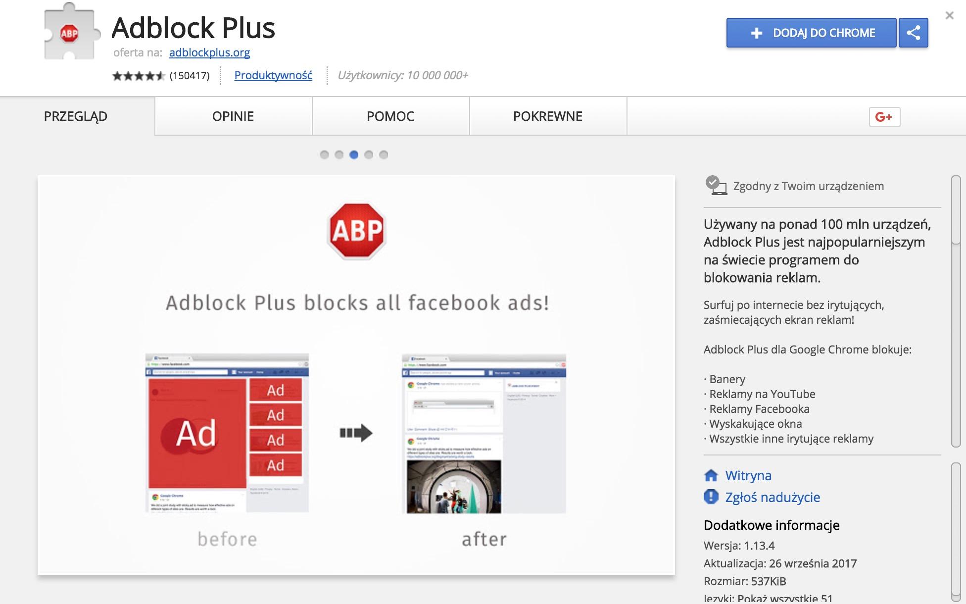 adblok plus - fałszywa wtyczka w chrome