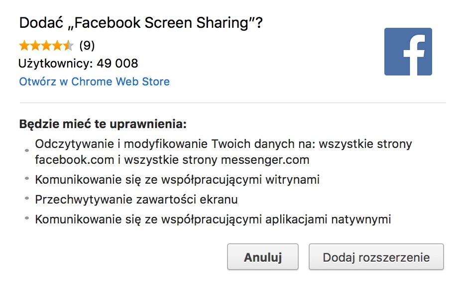 facebook transmisja live - udostępnianie ekranu