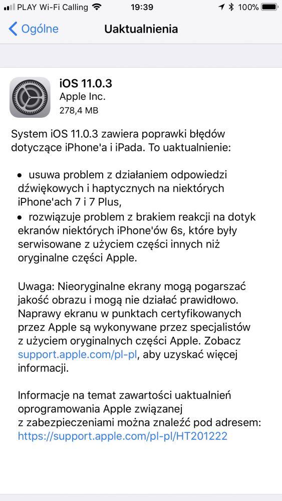 iOS 11.0.3 iPhone 6s naprawa