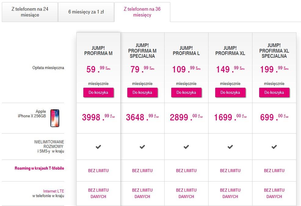 iphone x w t-mobile cennik w abonamencie