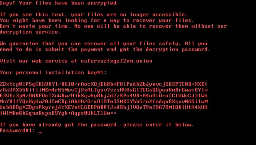 Taki ekran wyświetla komputer zaatakowany przez ransomware Bad Rabbit.