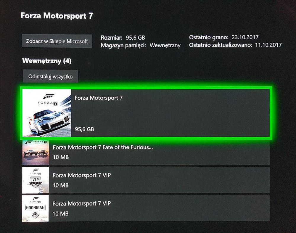 Xbox One X pamięć