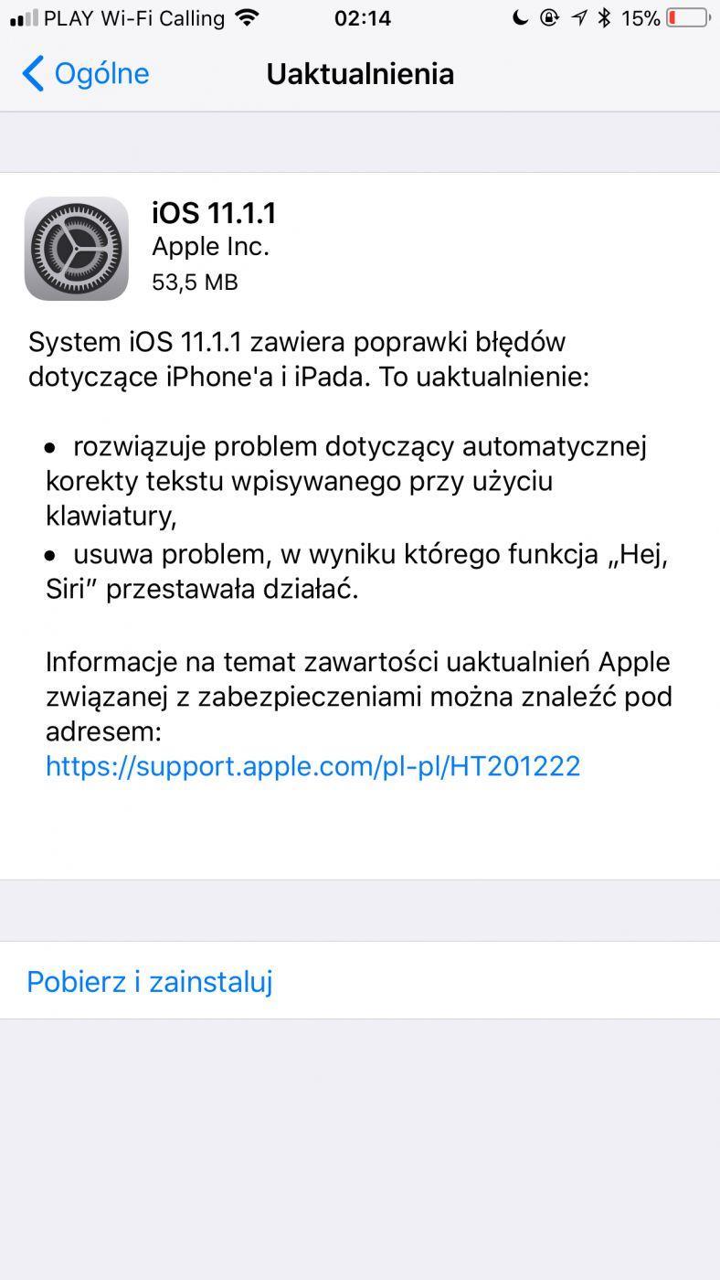 iOS 11 1 1 naprawia kompromitujący błąd z literką