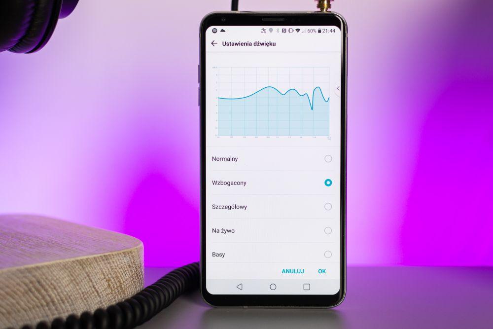 Telefon do słuchania muzyki LG V30 pozwala na dostosowanie ustawień dźwiękowych.