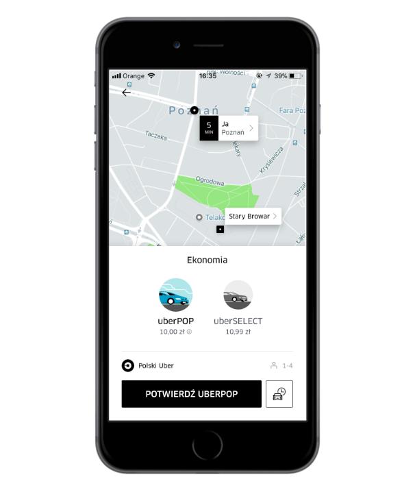 Uber - nowy sposób nalicznia cen.