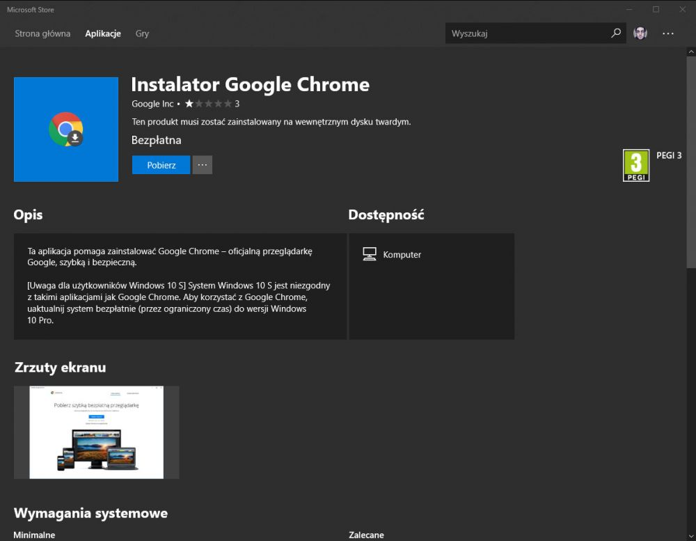 Google Chrome w Windows Store