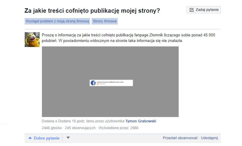 zlomnik ban na facebooku
