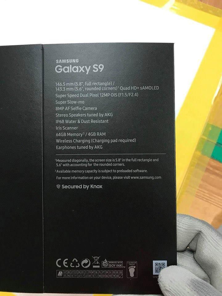 samsung galaxy s9 specyfikacja box