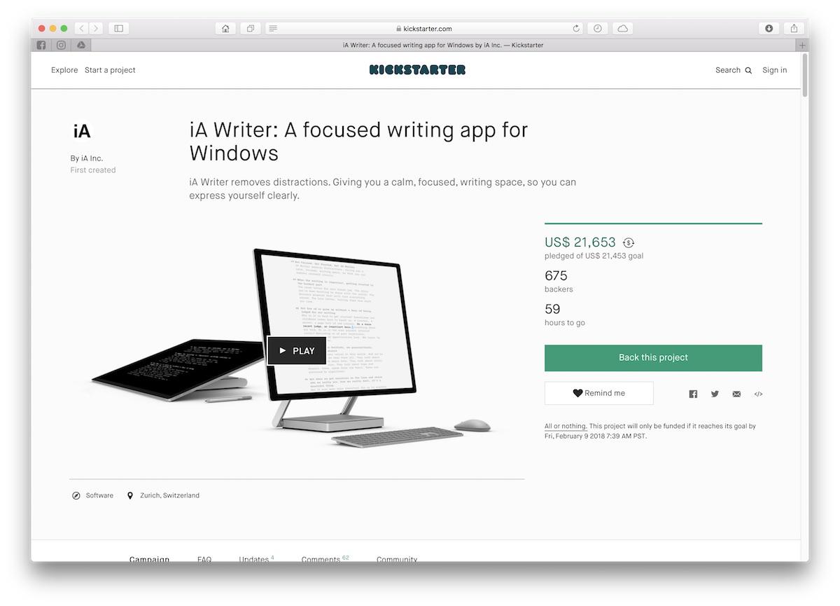 ia writer windows kickstarter
