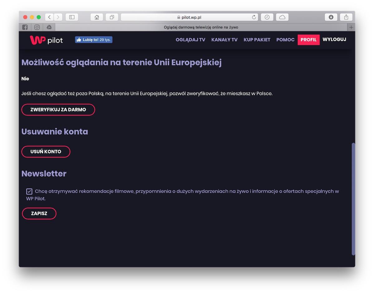 WP Pilot polska telewizja online za granica unia europejska 1