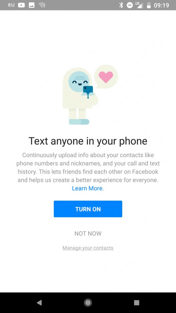 Facebook lista połączeń SMS