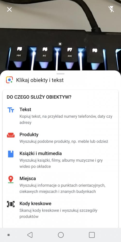 Obiektyw Google klawiatura