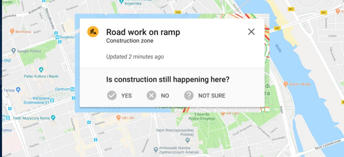 Nowa funkcja w Mapach Google. Zgłaszanie zdarzeń drogowych możesz znać z Waze'a lub Yanosika