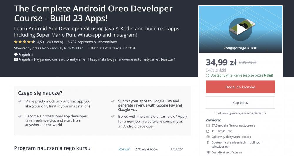Udemy: Jak tworzyć aplikacje na Androida? Kurs programowania