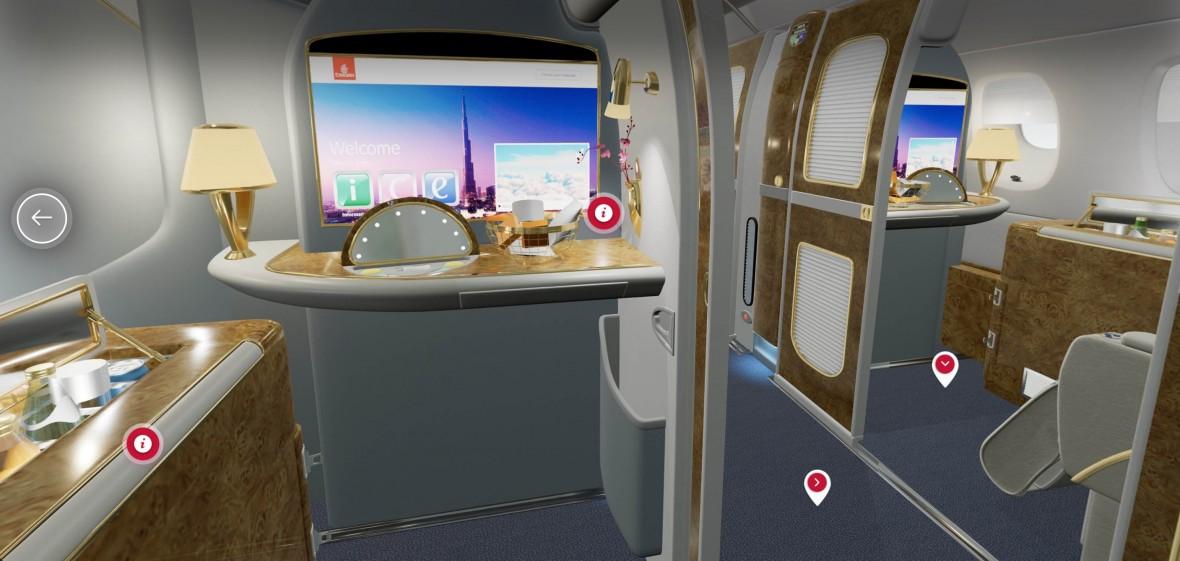 Emirates robi to dobrze. Możesz przejść się po kabinie w VR i zobaczyć kupione miejsce. Albo słynne prysznice
