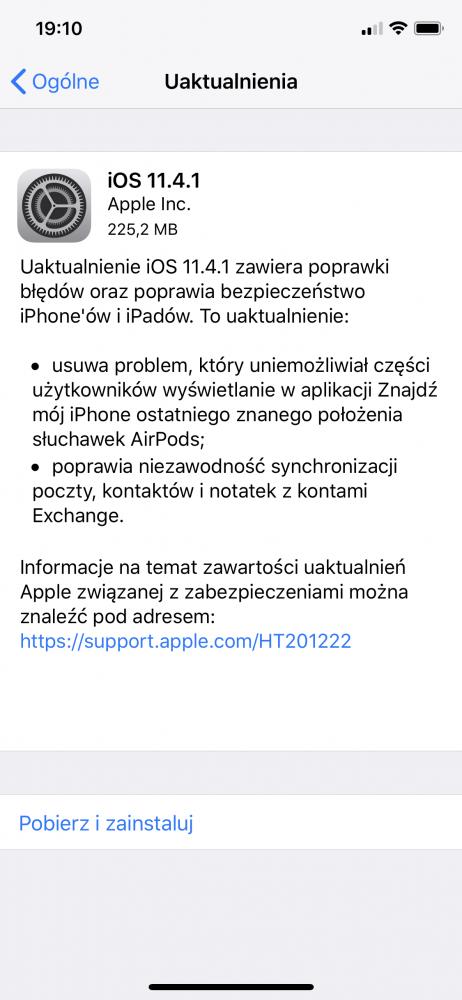 iphone ios 11.4.1 lista zmian