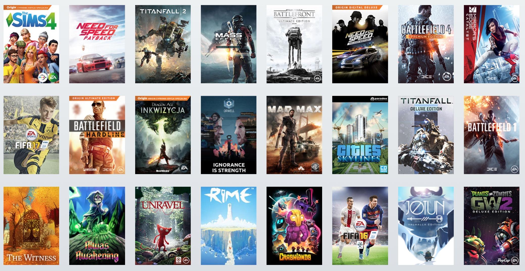 Origin Access Premier lista gier