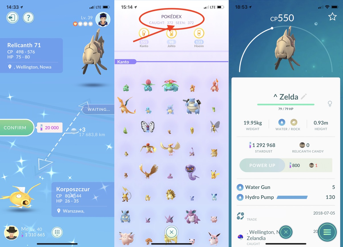 pokemon go regionalne wymiany trade 2 lata 1