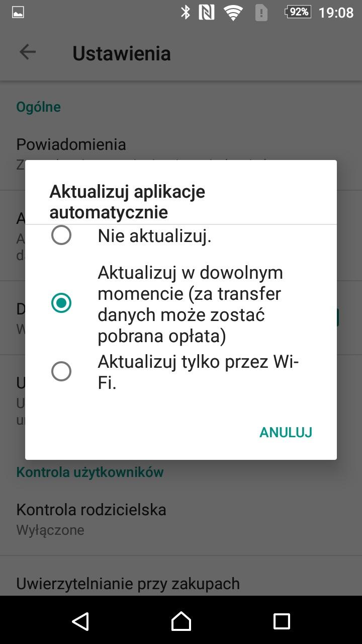 automatyczne aktualizacje aplikacji jak wyłączyć android
