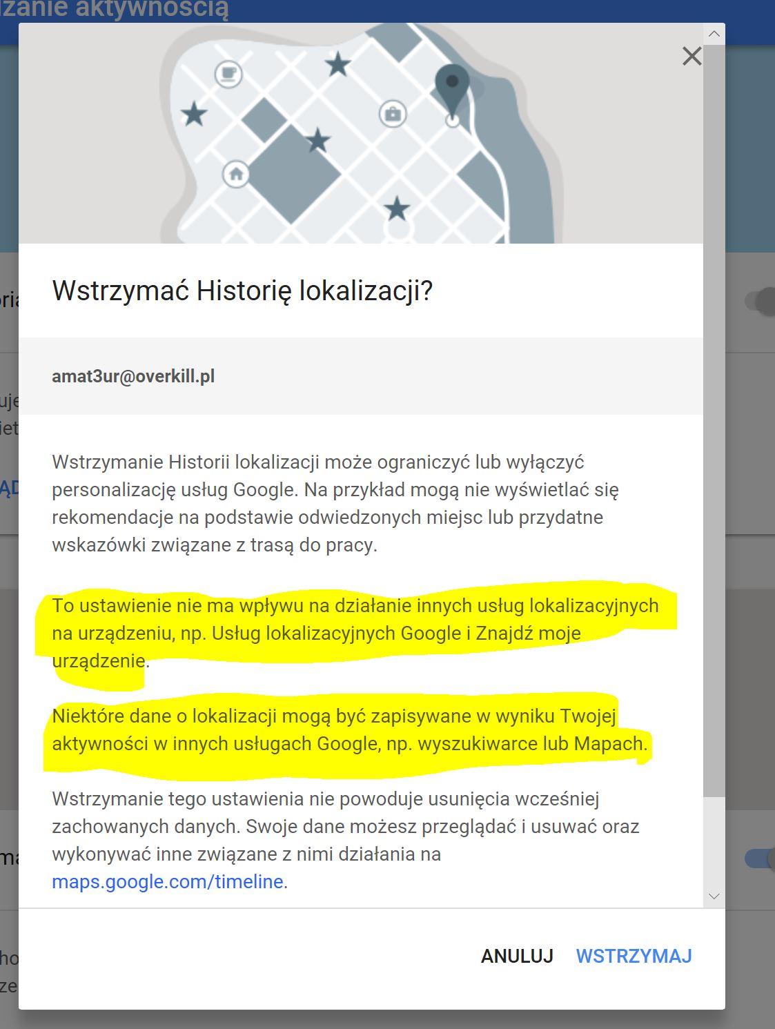 Google śledzi historię lokalizacji