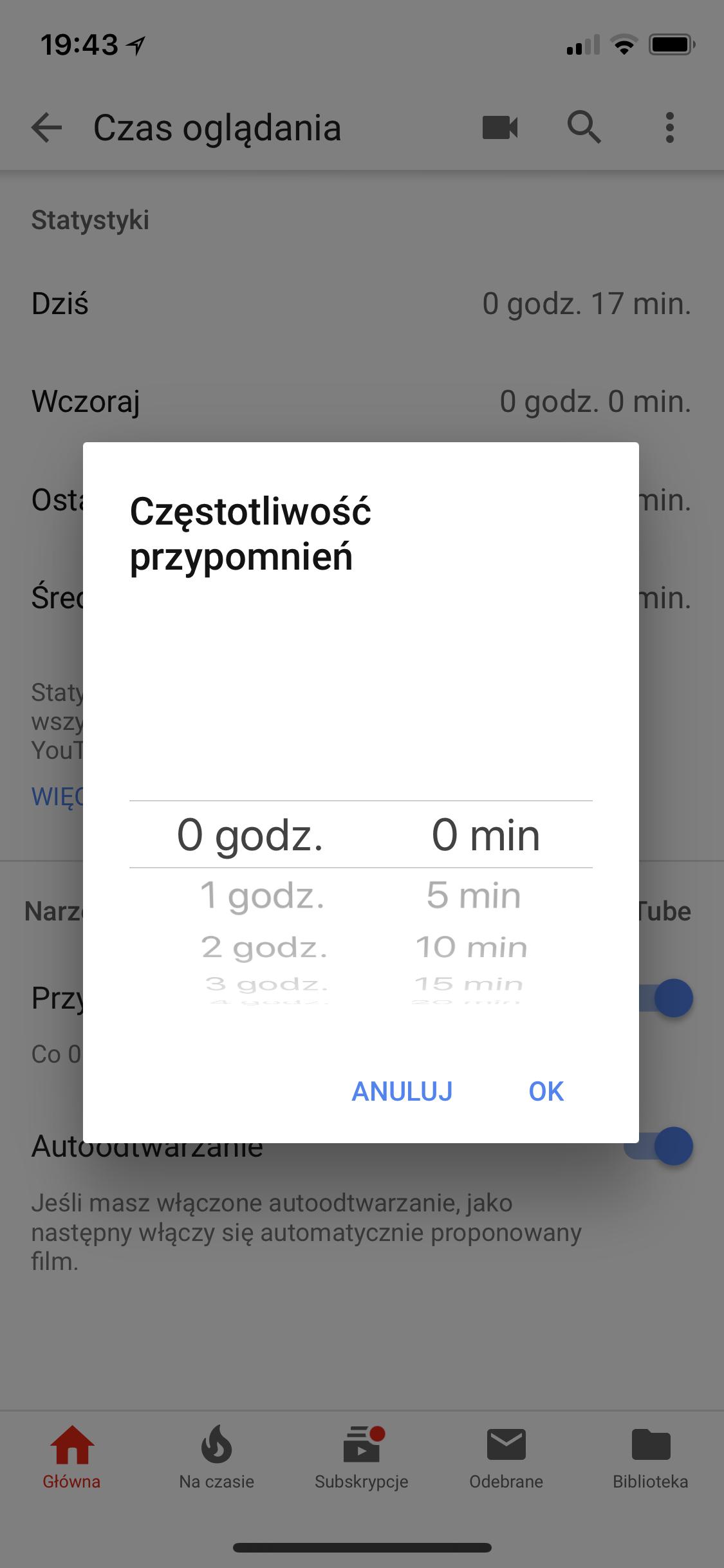 Kontrola czasu na YouTubie