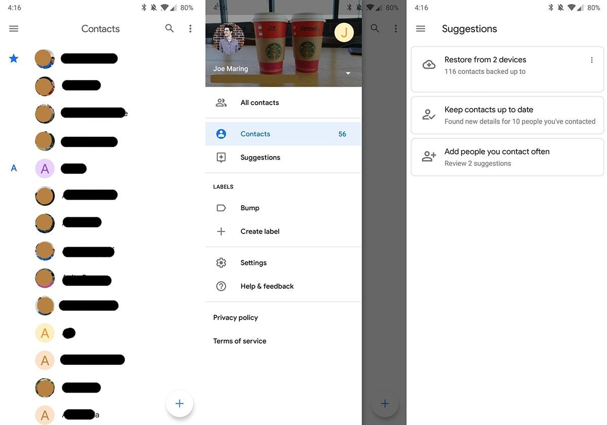 Google Kontakty Material Theme
