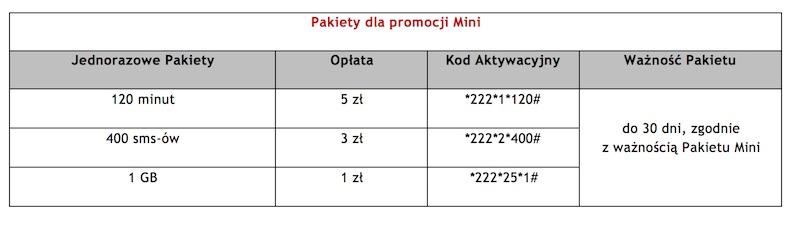virgin mobile pakiety mini prepaid 1