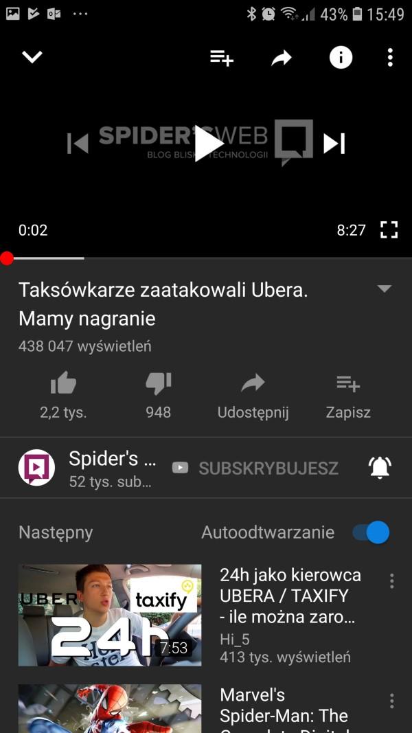 ciemny motyw youtube android