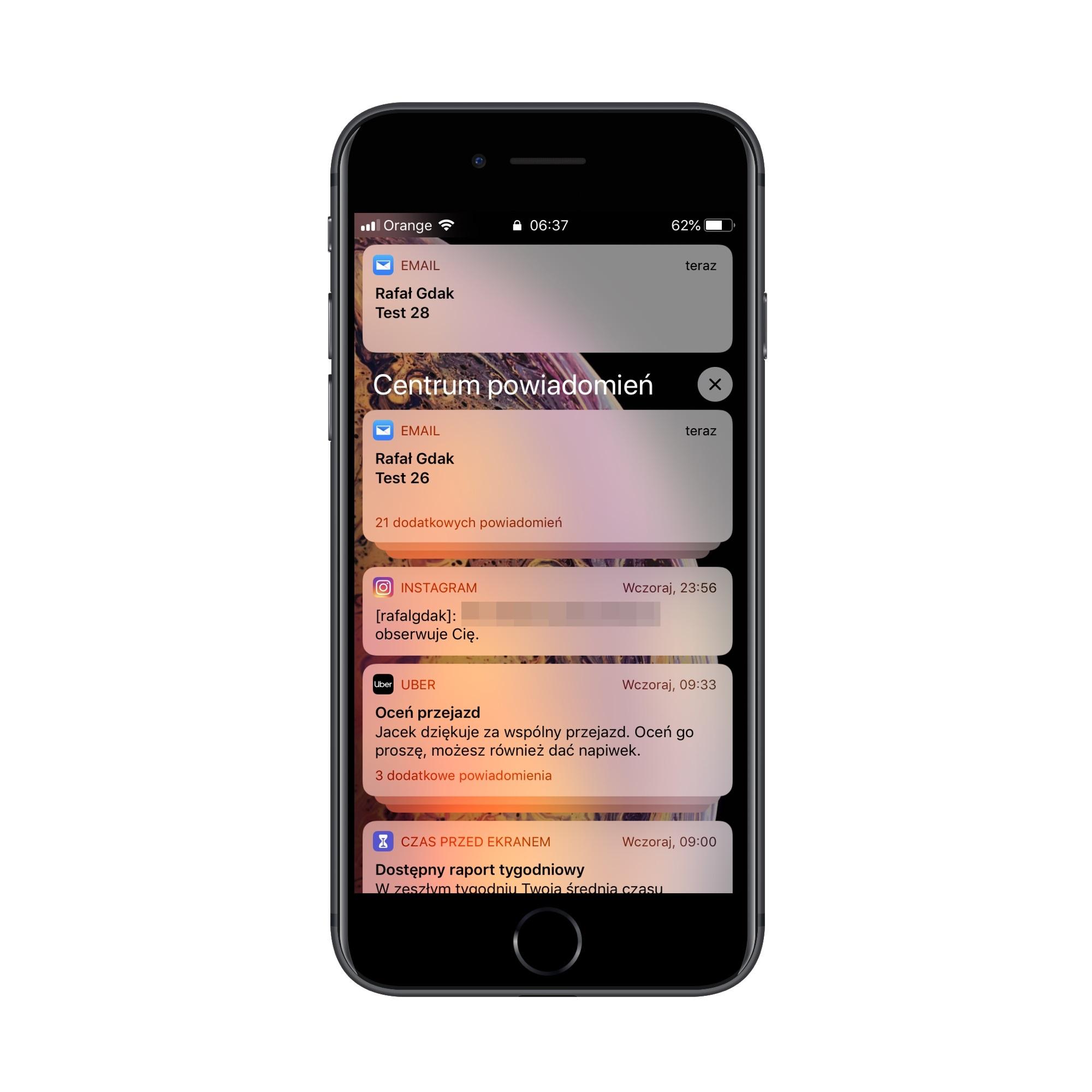Grupowanie powiadomień w iOS 12