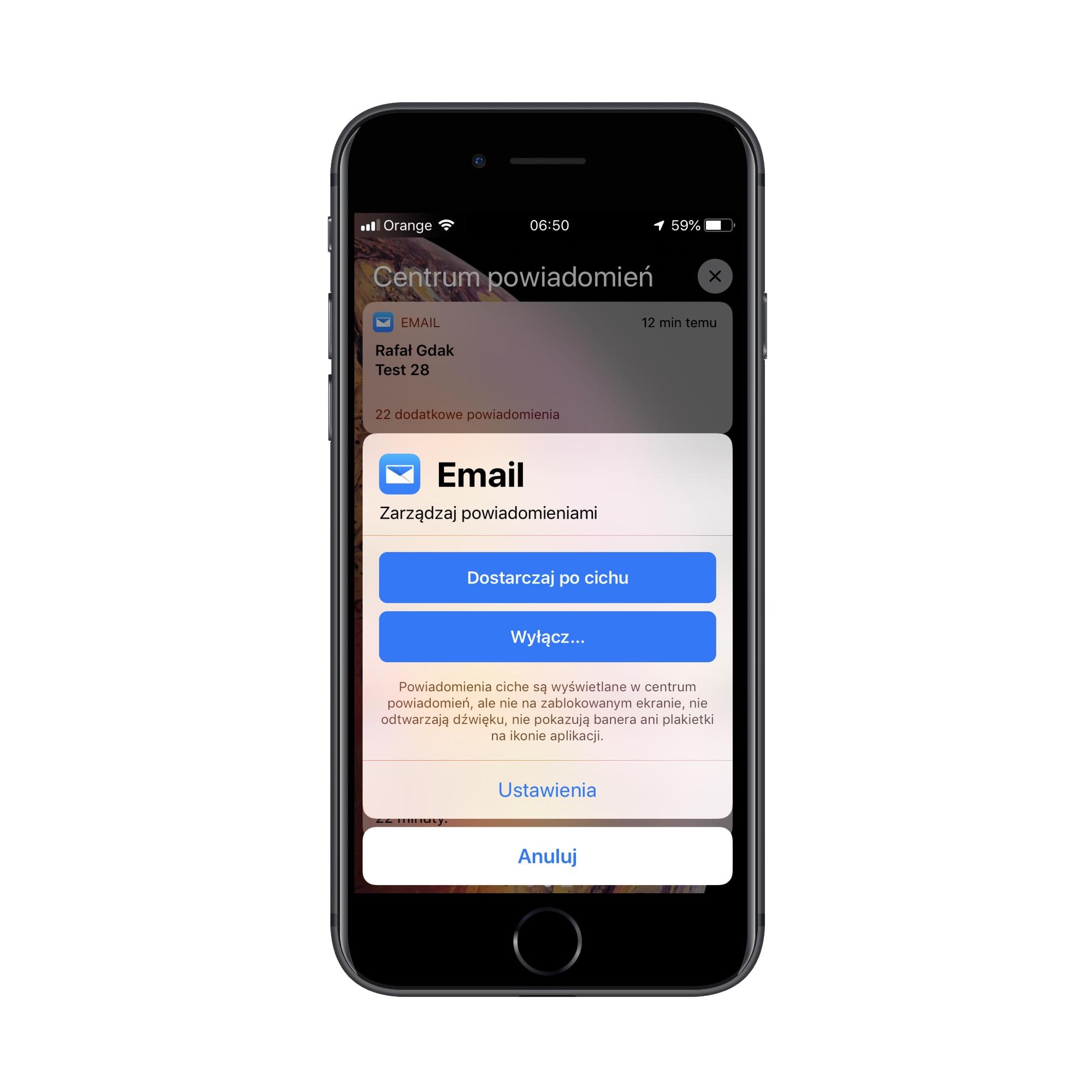 Zarządzanie powiadomieniami w iOS 12