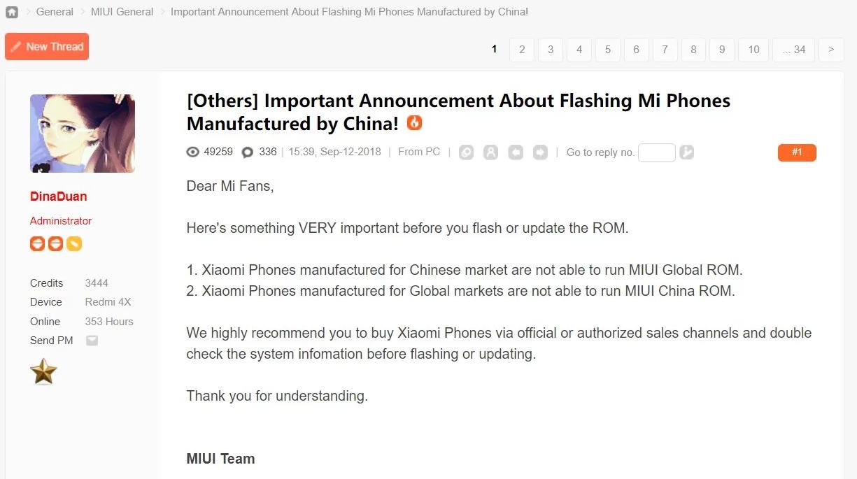 Xiaomi ogłosiło, że wraz z aktualizacją smartfonów do systemu MIUI 10 nie będzie możliwe ich łatwe flashowanie. Co za tym idzie, kupno telefonów Xiaomi z Chin stanie się zupełnie nieopłacalne.
