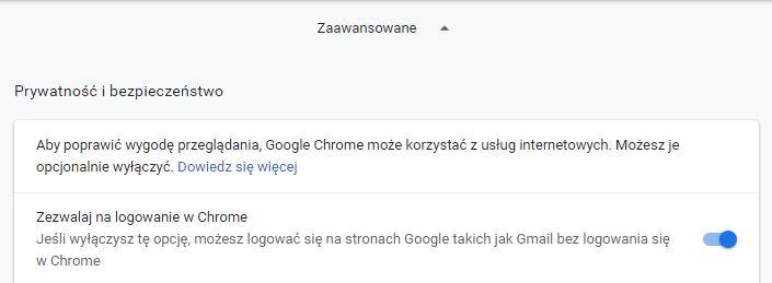 Chrome 70 jak wyłączyć automatyczne logowanie