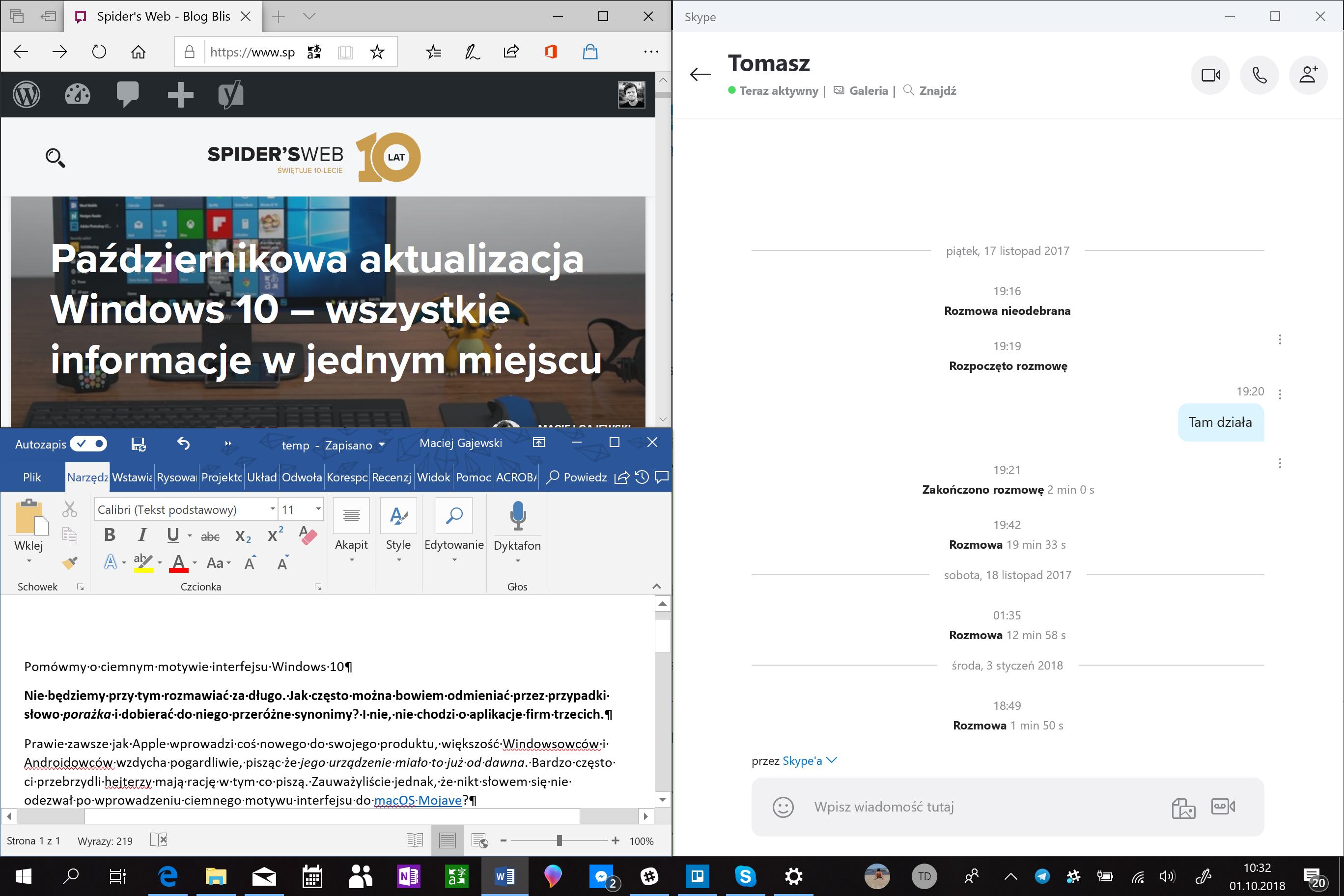 Windows 10 ciemny motyw
