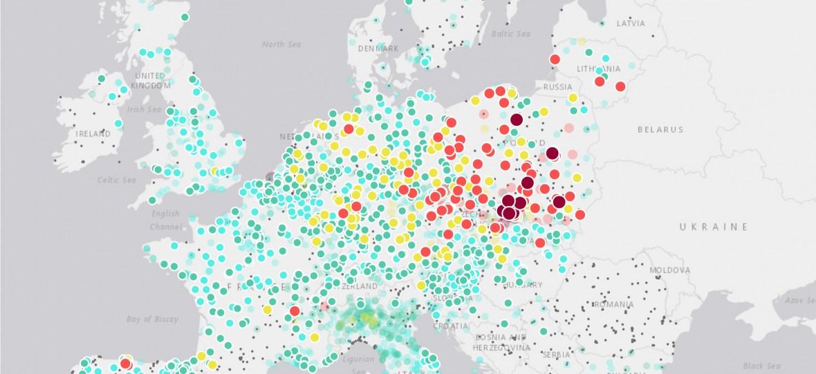 Mapa dnia: Polska martwą plamą na mapie Europy. Smog uznany za najskuteczniejszego zabójcę na świecie